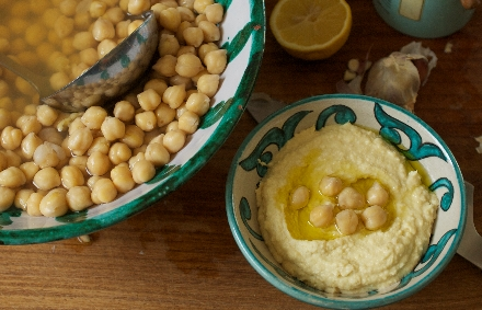 homemade hummus and chickpeas