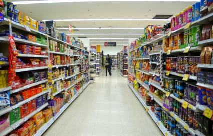 Junk food aisle at supermarket