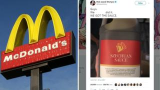 Split collage of McDonalds sign and screenshot fromRick and Morty creator saying 'we did it' and photograph of large container of sauce