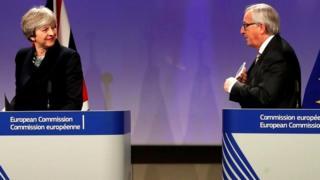 Theresa May and Jean Claude Juncker