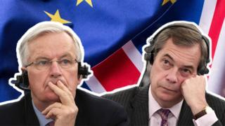 A composite illustration shows Michel Barnier and Nigel Farage, taken from separate photos, in front of the EU and UK flags.