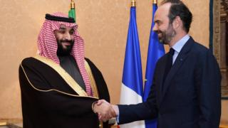 Saudi Arabia's Crown Prince Mohammed bin Salman meets French Prime Minister Edouard Philippe in Paris, 9 April 2018
