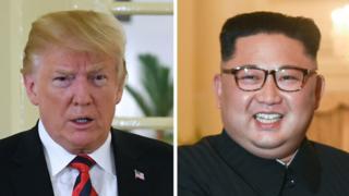 Composite of Donald Trump (L) and Kim Jong-un (R)