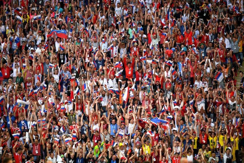 The Luzhniki Stadium crowd started a Mexican Wave halfway through the first-half