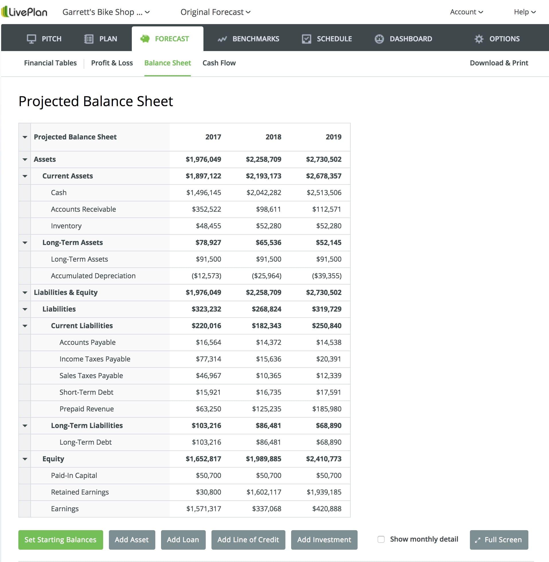 LivePlan balance sheet