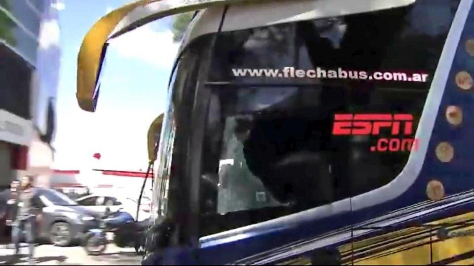 The bus had numerous windows broken