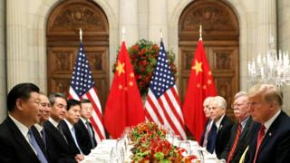 US President Donald Trump, US Secretary of State Mike Pompeo, US President Donald Trump's national security adviser John Bolton and Chinese President Xi Jinping attend a working dinner after the G20 leaders summit in Buenos Aires, Argentina, 1 December