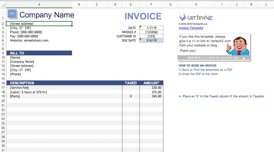 free Excel invoice