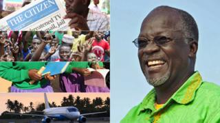 Left: Man reading a newspaper in Tanzania, followed below by people at a political rally in Tanzania, followed below by schoolgirls holding books, followed below by a plane at Dar es Salaam airport Right: Tanzanian leader John Magufuli