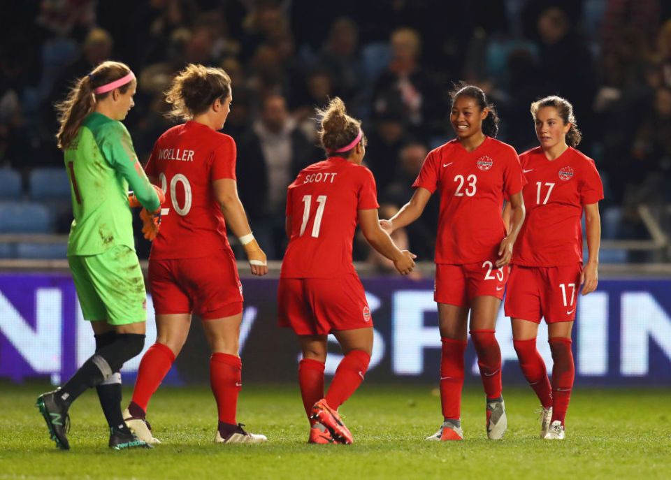 Canada celebrate the win over England