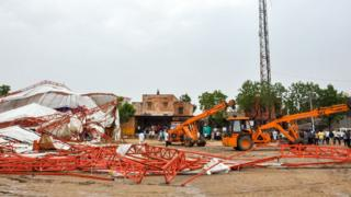 A general view of the site where a pandal (a large marquee) collapsed during a religious event