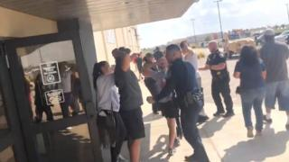 People are evacuated from Cinergy Odessa cinema following the shootings