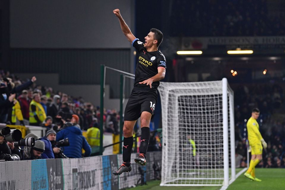 Rodri scored a stunning goal as Manchester City ran riot at Turf Moor