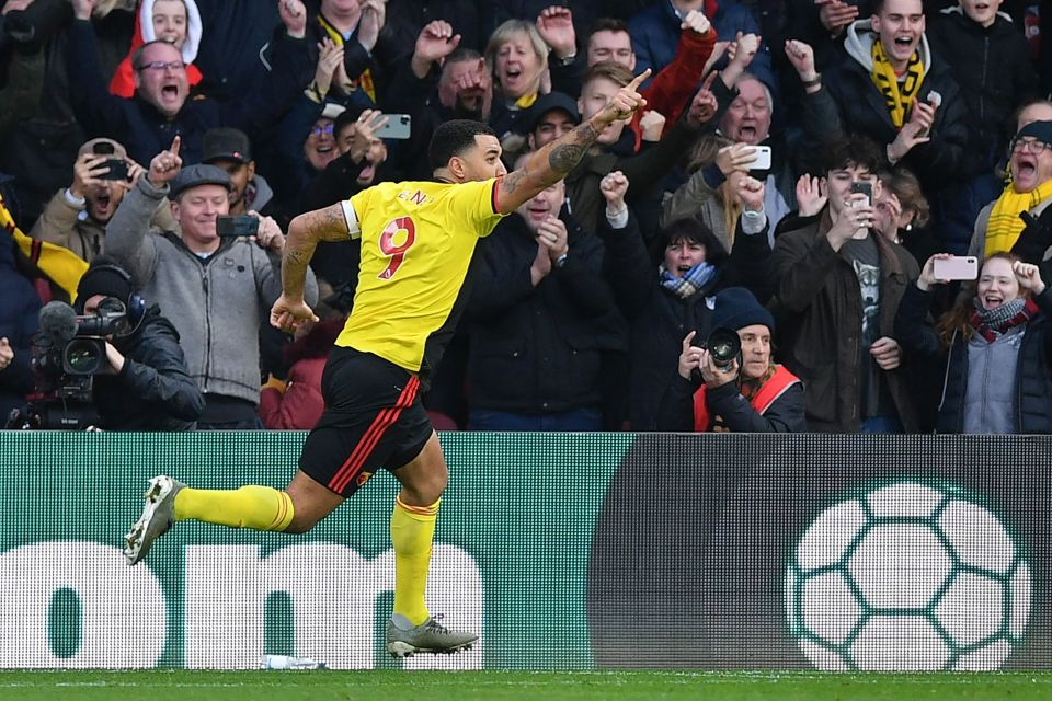 Hornets skipper Deeney celebrates after scoring the second at Vicarage Road