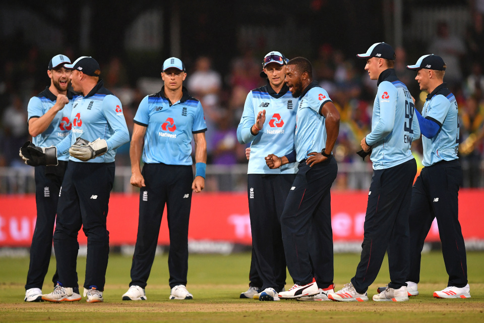 Chris Jordan of England celebrates the wicket of Temba Bavumba of South Africa
