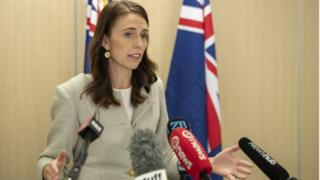 New Zealand's PM Jacinda Ardern speaks at a news briefing in Auckland. Photo: 14 March 2020