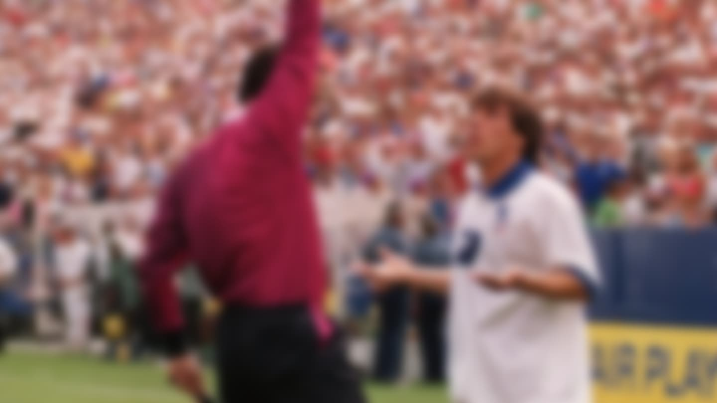 GIANFRANCO ZOLA OF ITALY IS SHOWN THE RED CARD