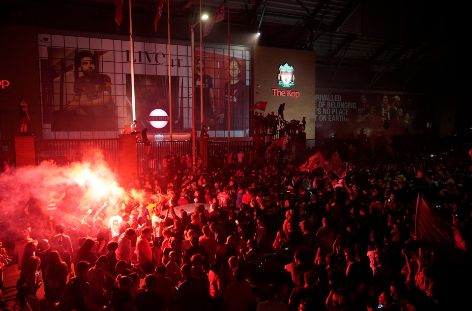 Liverpool fans' celebrations at winning the Premier League quickly turned sour