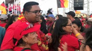 Irfaan Ali meets with supporters, ahead of the March 2nd presidential election, in Georgetown, Guyana January 18, 2020