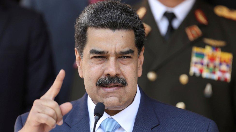 Venezuelan President Nicolas Maduro speaks during a news conference in Caracas, Venezuela, 12 March, 2020.