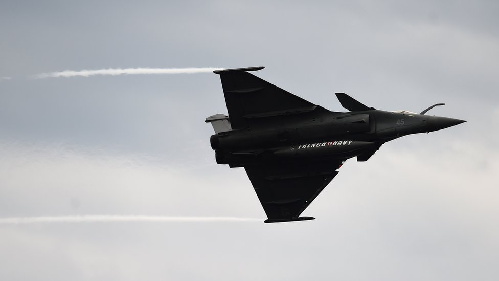 A French military plane Rafale, pictured here in 2018, was dispatched in Paris on Tuesday