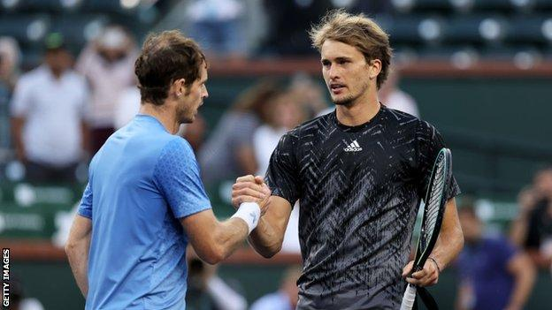 Andy Murray and Alexander Zverev shake hands at the net